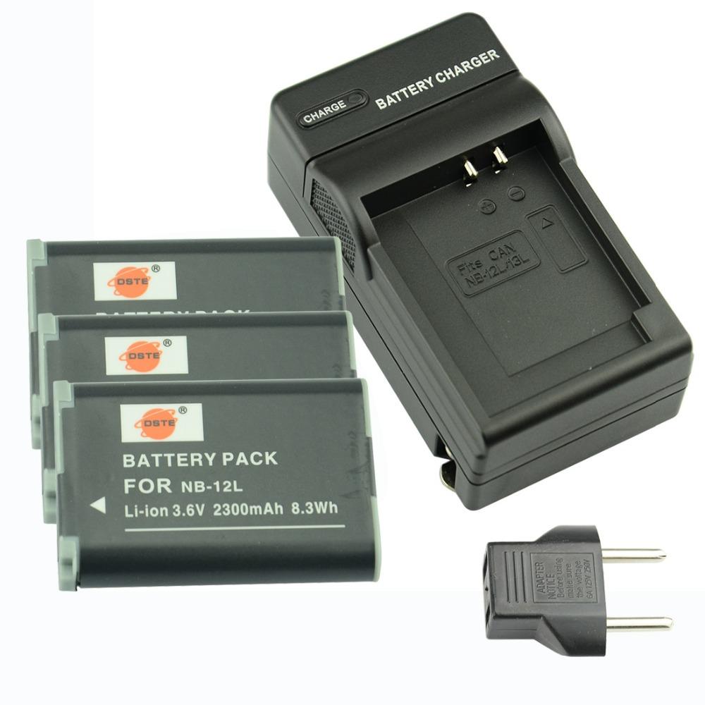 DSTE 3 ШТ. NB-12L Аккумуляторная Батарея + Зарядное Устройство и Автомобиль Для Canon LEGRIA мини X PowerShot N100 G1 X Mark II Камеры видеокамера canon legria hf r806 black