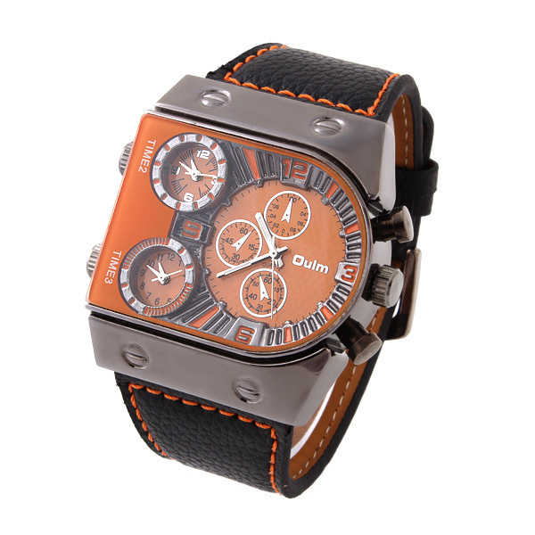 2015 New Fashion OULM Mans Sports Watches Multiple Time Zone Quart Boat Nails Military Watch Business Wristwatch  OU05<br><br>Aliexpress