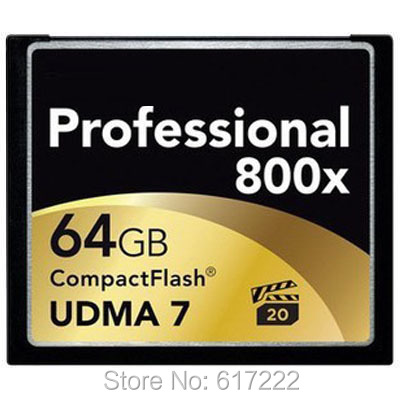 Free shipping 120MB/s Brand 32GB 64GB 800x CompactFlash Card UDMA 7 CF Compact Flash Memory Card For DSLR(China (Mainland))