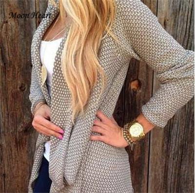 2015 Feminino Casual Loose Plus Size Knitted Cardigan Women Fashion Irregular Sueter Oversized Long Cardigan Women Sweater(China (Mainland))