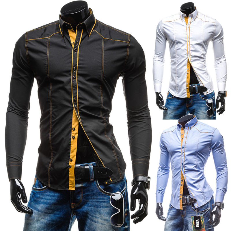 New 2015 Brand Autumn Men Slim Fit Long Sleeve Shirt Luxury Cotton Leisure Patchwork Male Formal Stylish Shirt camisa masculina(China (Mainland))
