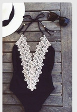 Solid Black Lace Hollow Out women Swimsuits One Pieces New Arrival beachwear fashion plus size triangl  bathing suit Swimwear(China (Mainland))