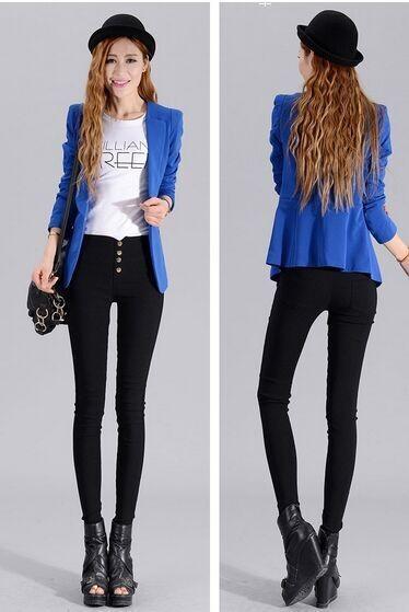 2015Fashion Cotton Blend Pants Capris Black Soft stretchy high Waist Pants nine points pants women trousers women leggings(China (Mainland))