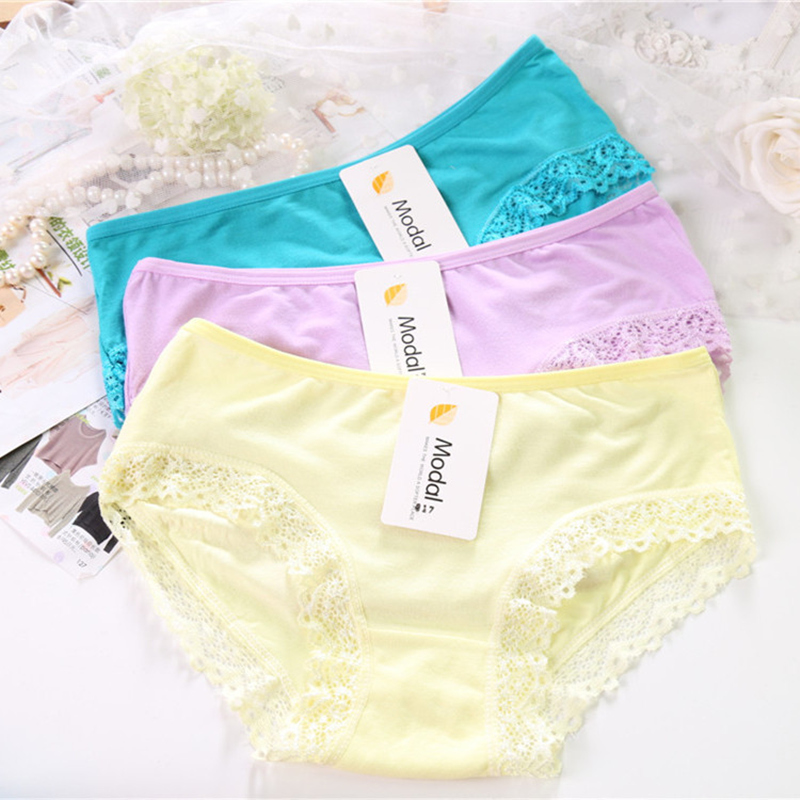Hot Sale Sexy Seamless Modal Panties For Women Underwear Solid Lace Panty Lingerie Soft Calcinha Ladies Briefs 4NK066-1(China (Mainland))