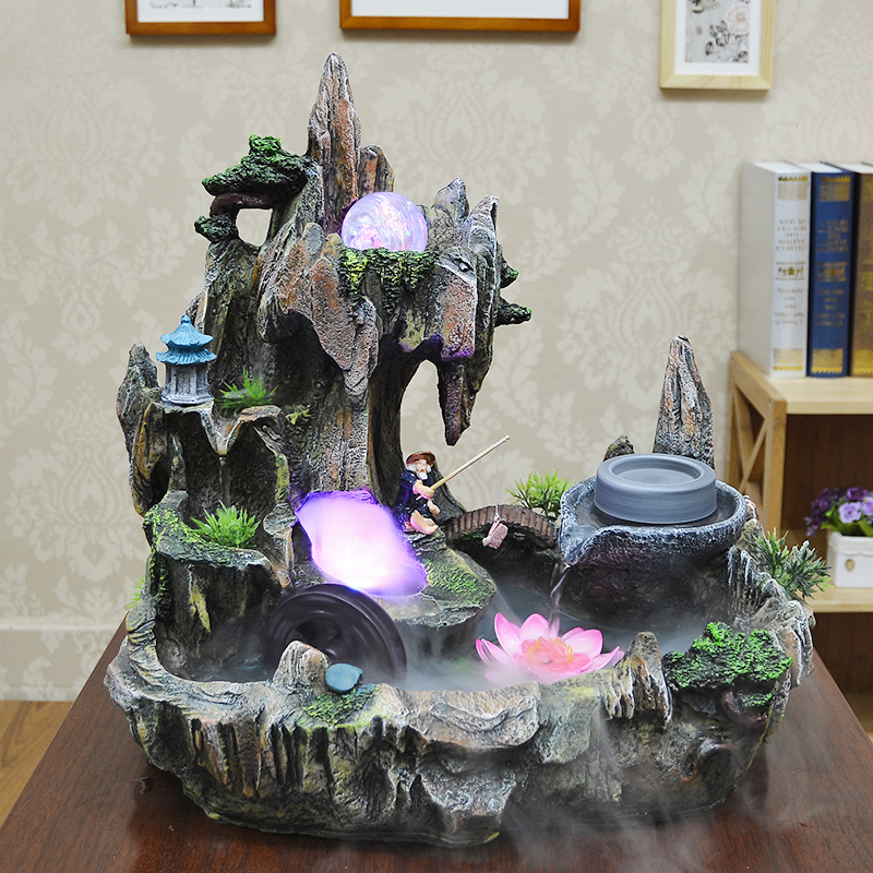 Ica rockery fish tank water features lucky feng shui wheel fountain bonsai humidifier decoration - Cute home store