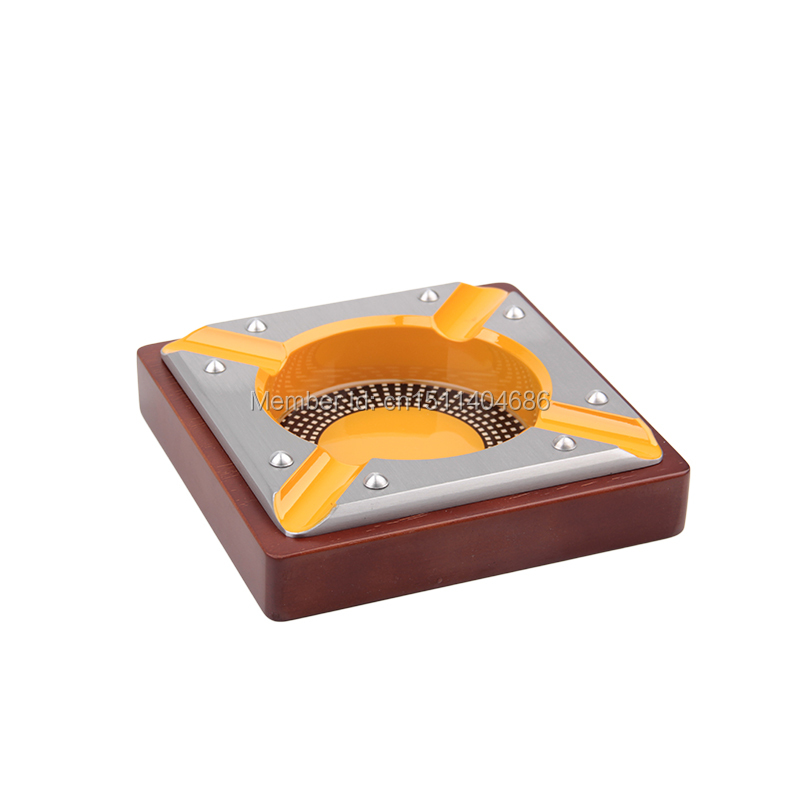 New Design Modern Style Square Cinzeiro Wooden Cigar Ashtray Cenicero Smoking Accessories(China (Mainland))