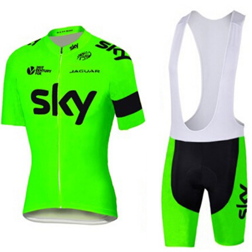 5 colors team 2016 fluo sky cycling jersey shorts set Quick dry pro bicycling jersey Roupa Ciclismo cycle Maillot Culotte set(China (Mainland))