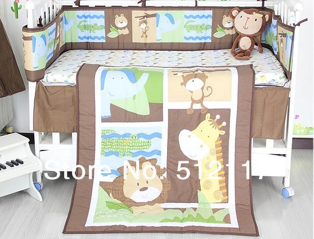 2014 New giraffe Forest Animals 8pcs Baby Cot Crib Bedding Set 5 items Includes Quilt Bumper Sheet crib skirt Diaper Stacker(China (Mainland))