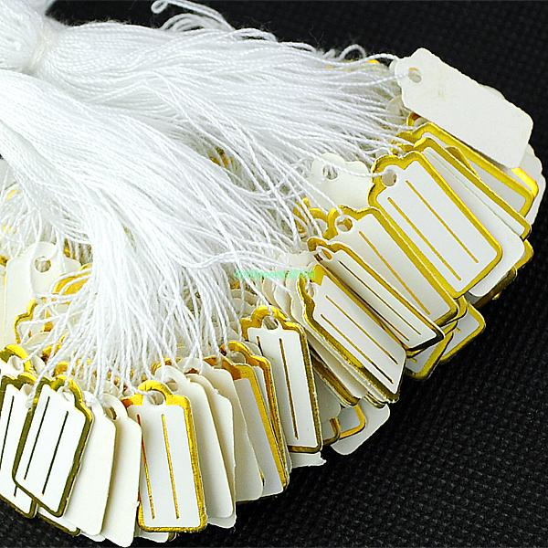 500pc Golden Border White Label Tie Tag Jewelry Price Tags With String ES1055(China (Mainland))
