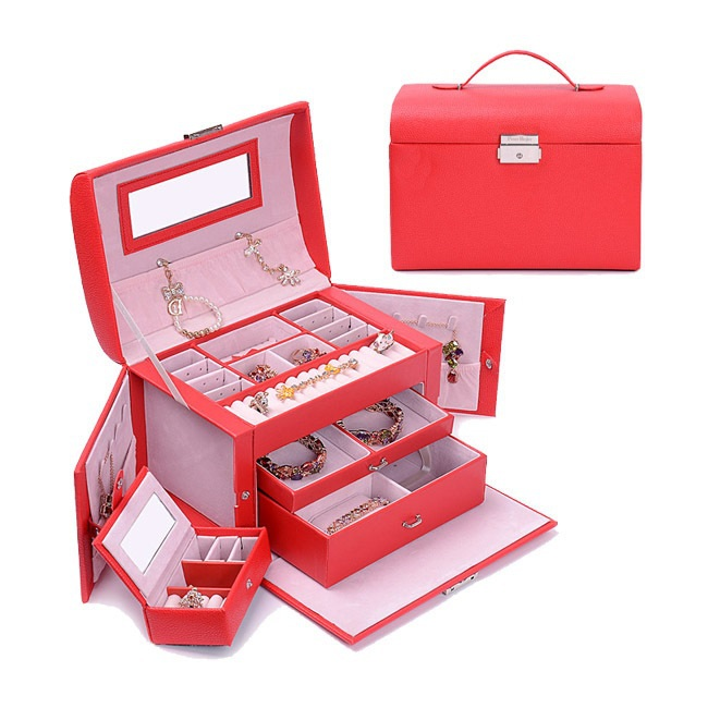 2015 New Arrival Fashion High-grade Leather Cosmetic Bags Makeup Storage Suitcase Large Capacity Jewelry box wedding gift<br>