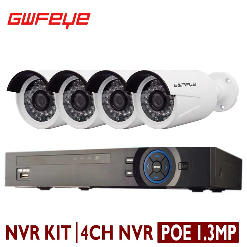 GWFEYE 4CH Channel 1080P 2.0 Mega Pixel CCTV POE NVR Kit Security System With 4PCS 1.3MP Mega Pixel Waterproof POE IP Camera Kit(China (Mainland))