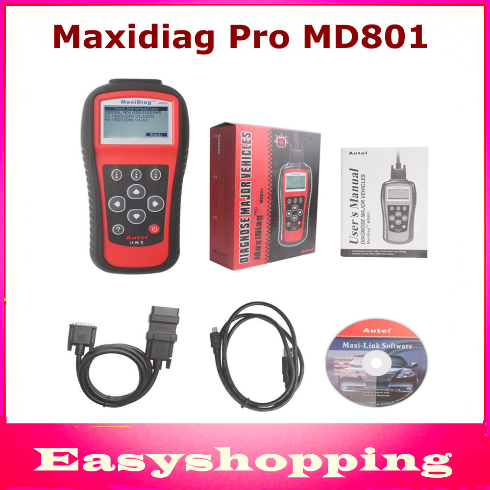 2016 New Arrival Multi-Functional Scan Tool AUTEL MaxiDiag Pro MD801 4 in 1 Code Scanner MD 801 = JP701+EU702 +US703 +FR704(China (Mainland))