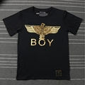Brand clothing BOY LONDON bronzing hot silver eagle eagle men s and women s cotton round