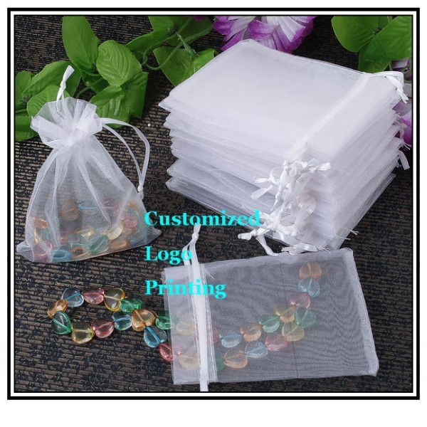 Wholesale 1000pcs/lot 7x9cm White Wedding Drawable Organza Voile Gift Packaging Bags&Pouches Can Customized Logo Printing 060517(China (Mainland))