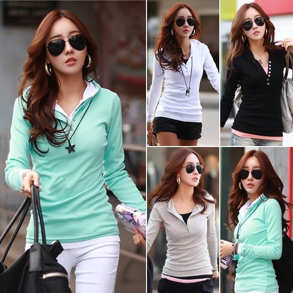 New 2015 Spring&Autumn Casual Women All Match Slim Fit Button Hooded Long Sleeve Tops Tees T Shirts, 4 Colors, 5 Sizes