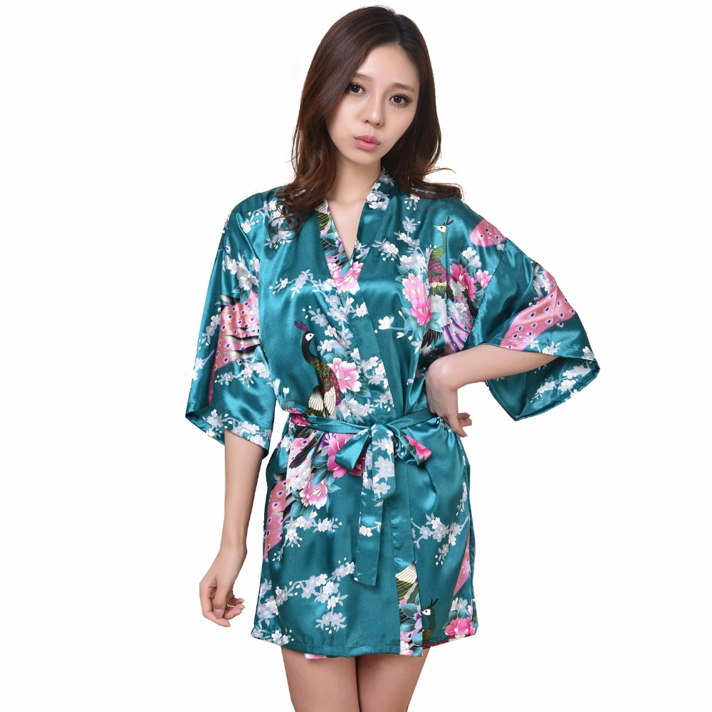 Yukata Dress Sexy Mini Kimon  Bathrobe Wedding Bridesmaid Night Grown Robes Light blue RB1026Одежда и ак�е��уары<br><br><br>Aliexpress
