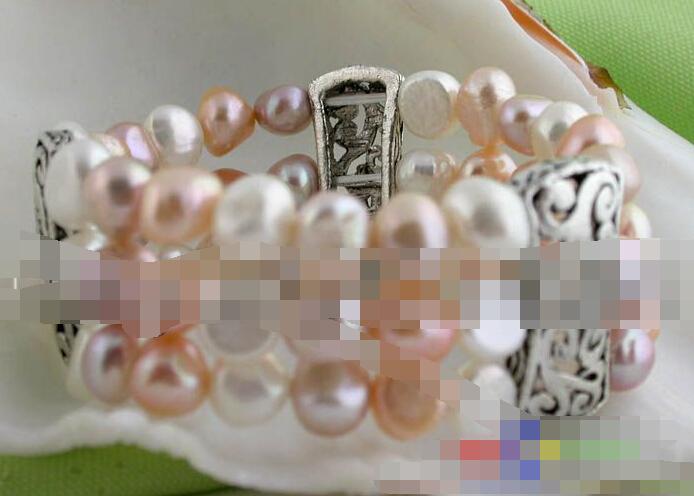 0865 3row baroque freshwater pink white purple pearls bracelet(China (Mainland))
