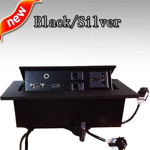 Cheap high quality universal internet tabletop pop up socket audio,video,rj11l,rj45,mic,hdmi,usb,vga,xlr,rca(China (Mainland))
