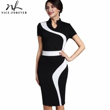 Buy Nice-forever Vintage Patchwork Stylish Elegant Casual Work Short Sleeve V-Neck Bodycon Women Office Pencil Slim Dress B320 for $16.55 in AliExpress store