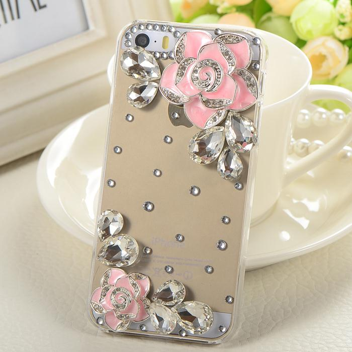 Rhinestone Phone cases 3D Blink Diamond Crystal Camellia Flowrs For Apple iphone 4s, 5, 5s, 6, 6plus Free shipping(China (Mainland))