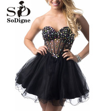 Vestido De Festa 2016 Cocktail Dress Sexy Luxury Newest Coming Black A Line Backless Rhinestone See Through Girls Dress To Party(China (Mainland))