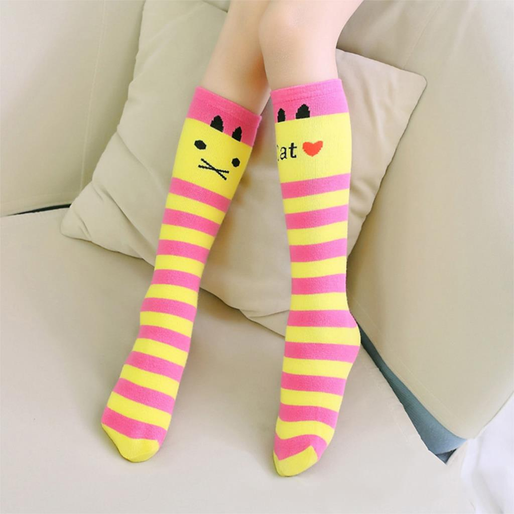Cute Cat Kid Socks Baby Girl Children Striped Colorful Knee High Long Socks Christmas Winter Socks