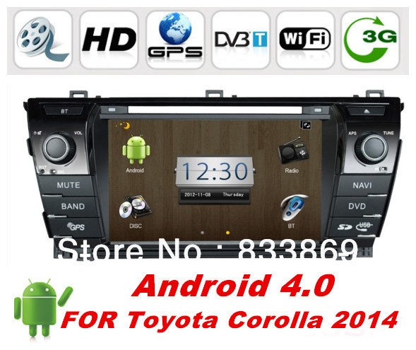 """Android 4.0 HD 8 """"2 Din Car PC GPS For Toyota Corolla 2014 With Bluetooth IPOD 3D UI PIP TV Radio / RDS AUX IN free WIFI dongle(China (Mainland))"""