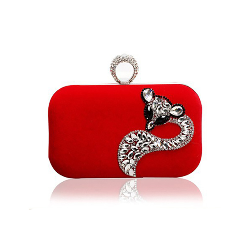 Hot Sale Luxury Fox Rhinestone Handbag Knucklebox Clutch Evening Bag 2015 Women Bags Designer Handbags High Quality Chain Tote(China (Mainland))