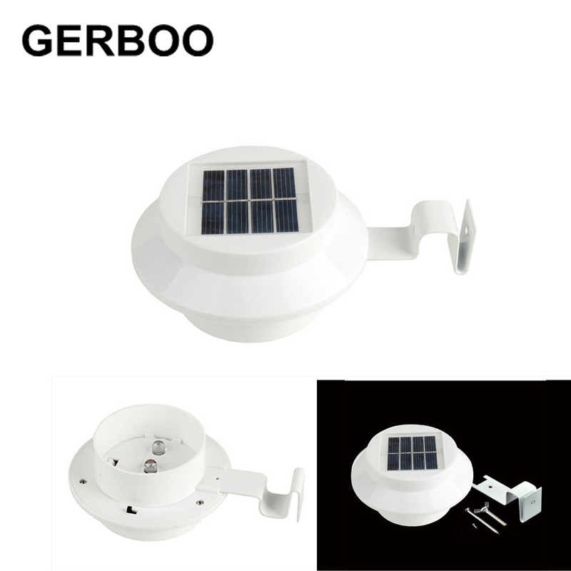 Outdoor Solar Powered 3 LED Fence Gutter Lights Garden Yard Roof Solar Wall Lamp White/Warm White 2PCS/LOT(China (Mainland))