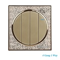 Luxury Champagne Gold Wall Switch Simple and Fashion Round Button Switch 4 Gang 1 Way Single