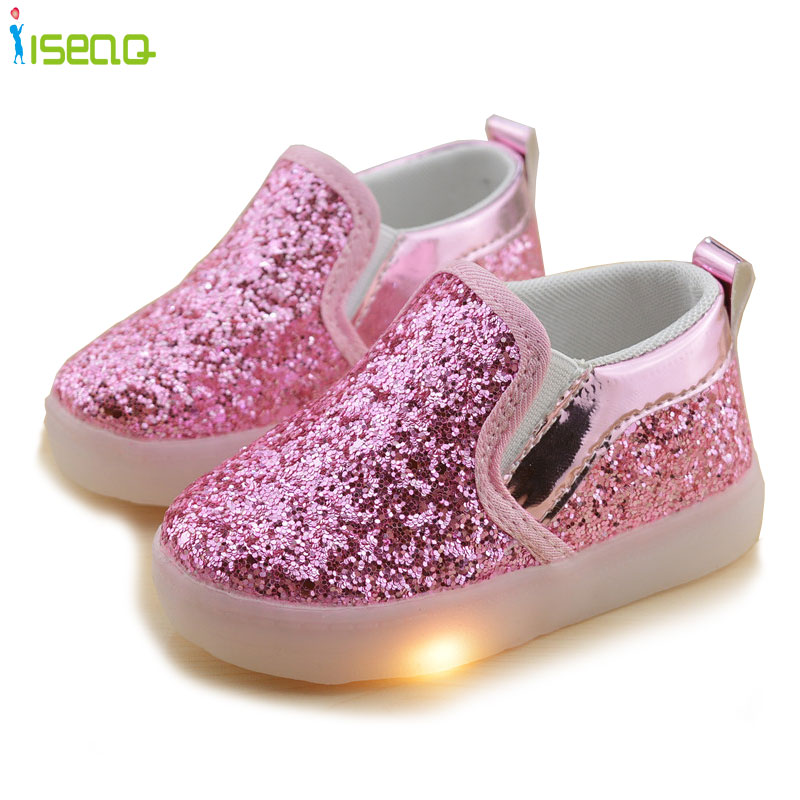 Children Girls Luminous Sneakers Kids Sports Shoes Girl PU Casual Boots for Spring Autumn Rubber Button Skidproof EU 21-30(China (Mainland))