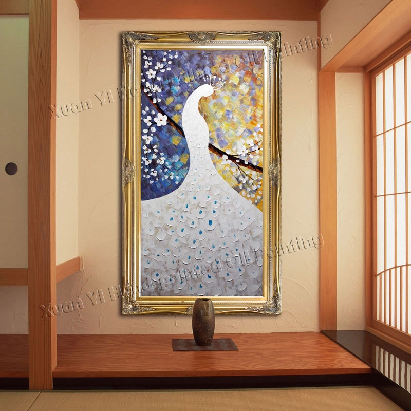 100 handmade peacock painting modern abstract oil for Handmade home decorations