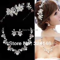 2014 Hot sale!!!New design top crystal wedding jewelry sets Ivory pearl bridal jewelry sets accessories