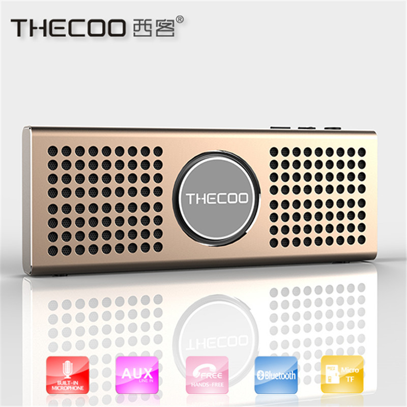 THECOO Ultra Thin Metal Portable Mini Bluetooth Speaker Wireless MP3 music Player computer phone Subwoofer Loudspeakers(China (Mainland))