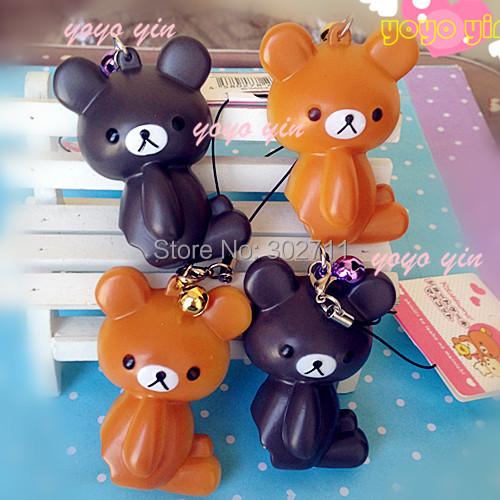 30pcs/lot New 2 Colors Rilakkuma Bear Squeeze Toy Phone Charm With Tag(China (Mainland))