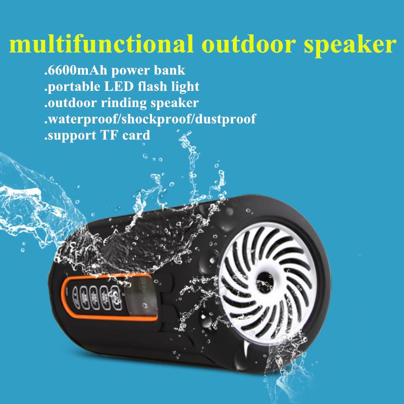 New LED flash portable speaker 6600mah power bank TF card bluetooth bicycel speaker outdoor riding waterproof wireless speaker(China (Mainland))