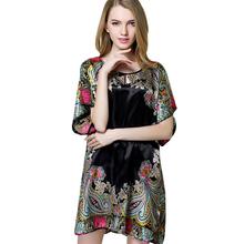 Yao Ting Direct Selling Summer Style Silk Women Pyjamas Night Shirt 2016 Short Sleeve Plus Size Nightgowns XXXL Sleep Top 10255(China (Mainland))