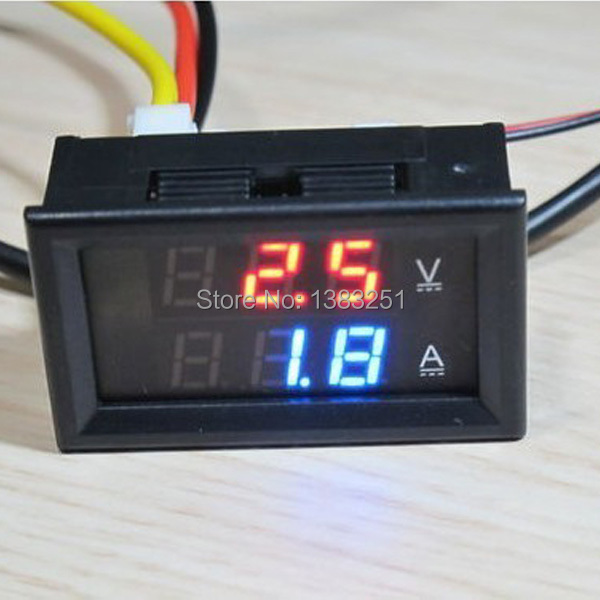 Free Shipping DC 0 100V 10A Blue Red LED Volt Amp Monitor Meter Car Voltmeter Ammeter