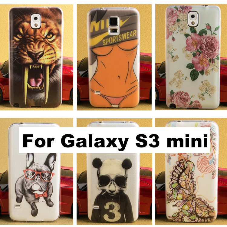 0.3mm Soft TPU Phone case For Samsung Galaxy S3 mini Transparent Clear Back Case Cover with Printing(China (Mainland))