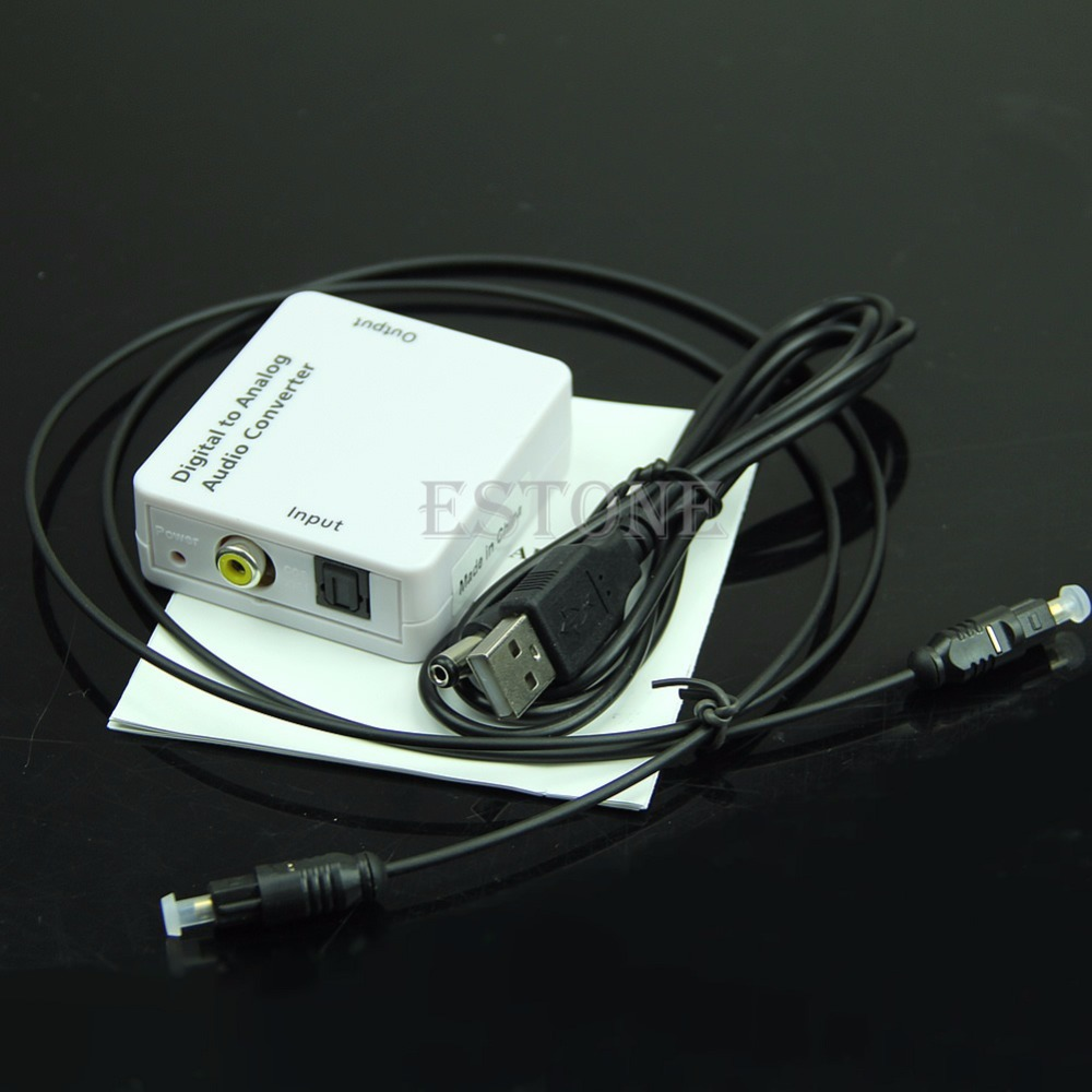 TV Optical SPDIF Coaxial Digital to RCA L R Analog Audio Converter Headphone Out