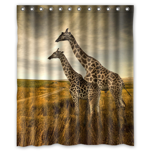 Giraffes Animals Sunset Custom Made Design Waterproof Shower Curtain Bathroom Curtains 36x72, 48x72, 60x72, 66x 72 inches(China (Mainland))