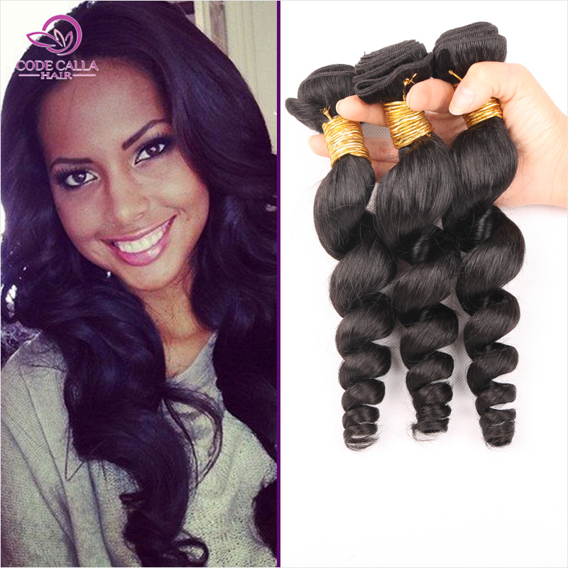 Brazilian Loose Wave Virgin Hair 6A Natural Black Loose Wave Brazilian Hair Weave Bundles 3pcs Queen Code Calla Products MTBW03<br><br>Aliexpress