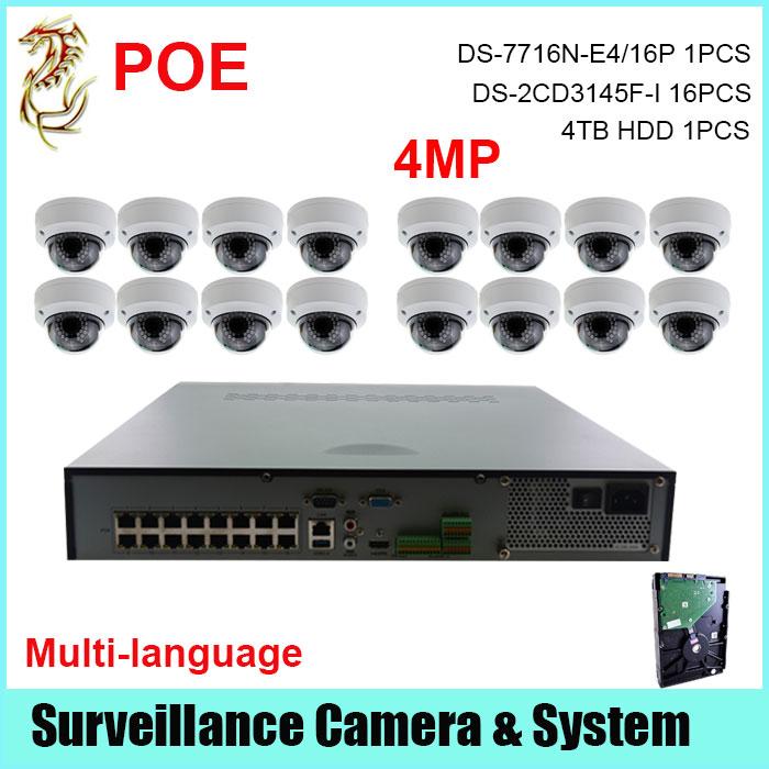 NVR System 5MP NVR DS-7716N-E4/16P+4MP POE Camera DS-2CD3145F-I 16PCS +4TB HDD<br><br>Aliexpress