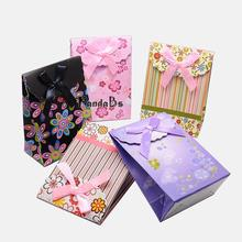 Paper Gift Shopping Bags, Valentine's Day Packages, Rectangle with Bowknot, Mixed Color, 105x75mm(China (Mainland))