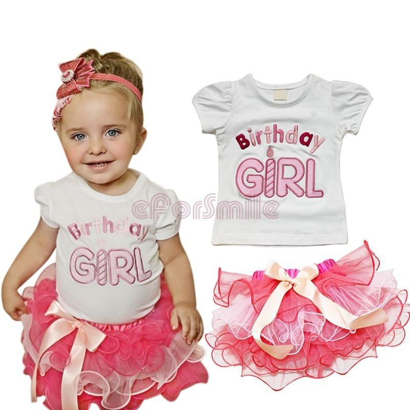 Toddler Girls Birthday Girl T-shirts and Skirts Outfit toddler girl clothing summer clothes girls outfits Tutu(China (Mainland))