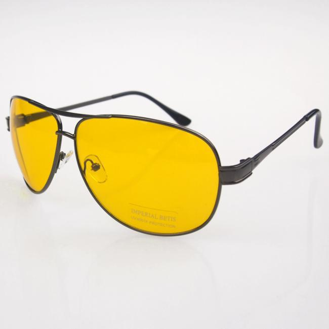 New Yellow HD Night Vision Aviator Driving Anti Glare Glasses Eyewear Gun Frame
