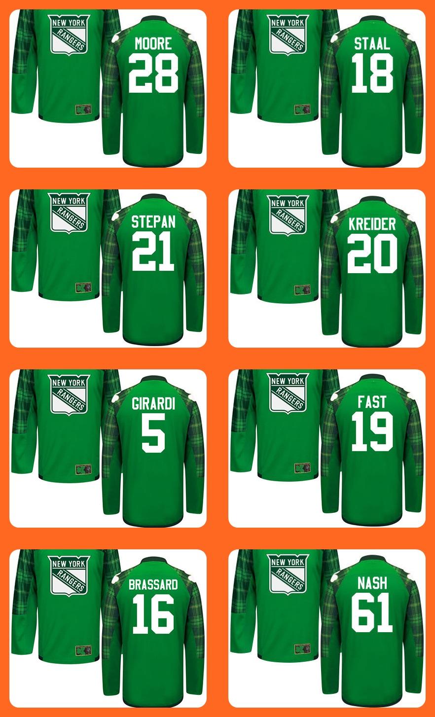 New Mens Green St.Patricks Day Jersey 20 Kreider 5 Girardi 19 Fast 16 Brassard 61 Nash 28 Moore 18 Staal 21 Stepan Jerseys<br><br>Aliexpress