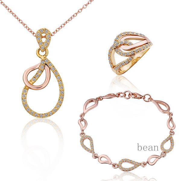 Jewelry Sets 18K Plated Gold Jewelry Set Sweet Lady Heart-Shaped Luckiness Jewerly Necklace Wedding Shamballa<br><br>Aliexpress