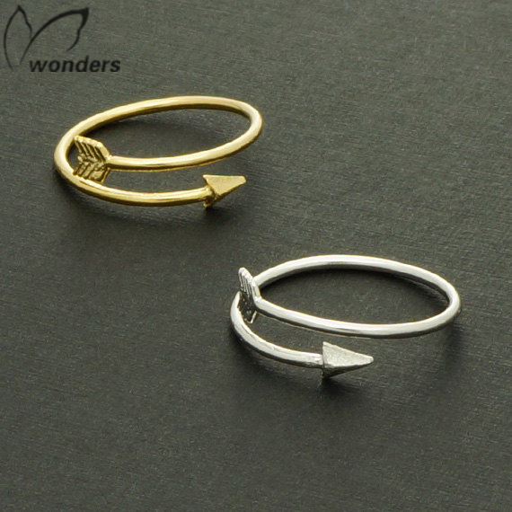 Hot Sale!!! 2015 Wholesale Free Shipping Valentines Day Gift Women Accessories Gold Silver Vintage Pinky Arrow Ring For Men(China (Mainland))