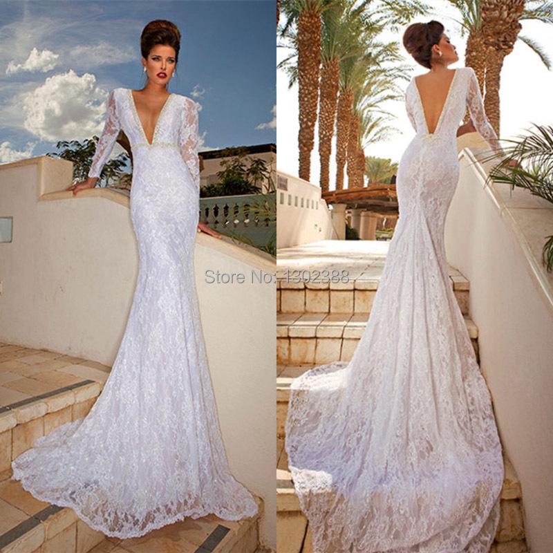 long sleeve backless mermaid wedding dress « Bella Forte Glass Studio